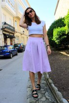 amethyst Zara skirt - black Zara sandals - white Bershka top
