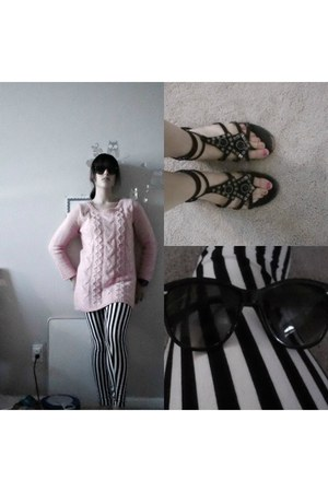 light pink knit H&M dress - black stripes leggings