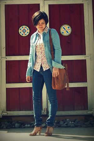 blue pacific sunwear blazer - brown Aldo purse - brown Nine West shoes - white r