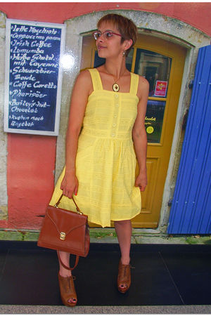 yellow Primark dress - brown Zara shoes