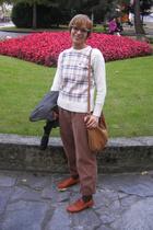 vintage blazer - Burberry sweater - vintage pants - 50s vintage glasses