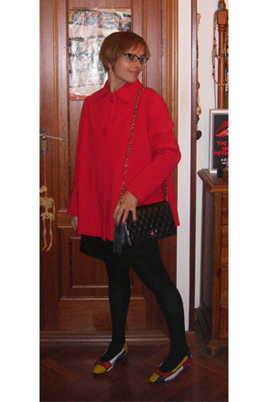 vintage coat - Pull &amp; Bear dress - vintage ebay purse - vintage ebay shoes