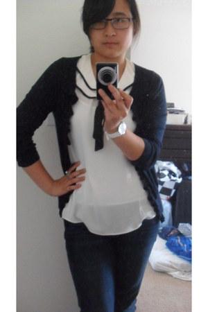 elle jeans - ivory sailor Forever 21 blouse - J Crew cardigan