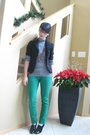 Black-blazer-black-top-green-jeans-red-necklace-black-shoes