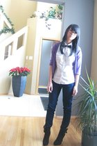 purple cardigan - white blouse - blue jeans - black accessories - silver accesso