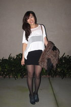 black HUE tights - dark brown leopard print H&M scarf - white Forever 21 top - b