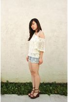 beige Forever 21 sweater - white Target top - blue hollister shorts - brown Stev
