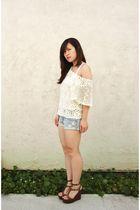 beige Forever 21 sweater - white Target top - blue hollister shorts - brown Stev