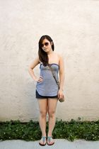 brown Marc by Marc Jacobs sunglasses - blue Lux top - blue hollister shorts - br