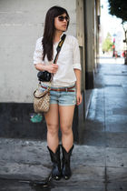 white H&M blouse - black cowboy thrifted boots - brown crossbody coach bag