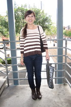 beige H&M sweater - dark brown Gucci purse - blue citizens of humanity jeans - d