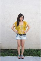 yellow Forever 21 top - brown Forever 21 belt - Forever 21 shorts - green ecote