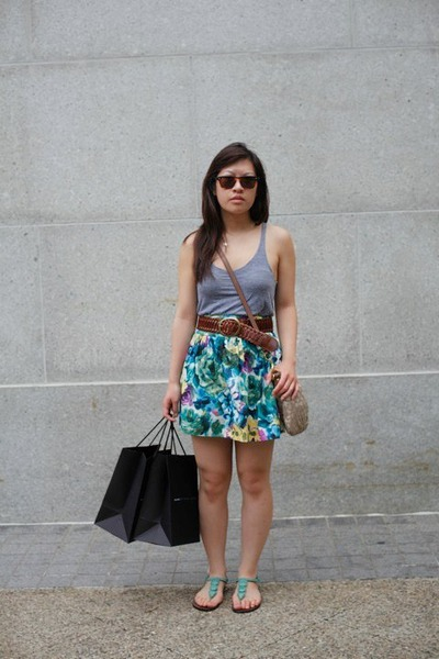 brown Ray Ban sunglasses - gray American Apparel top - brown unknown belt - blue