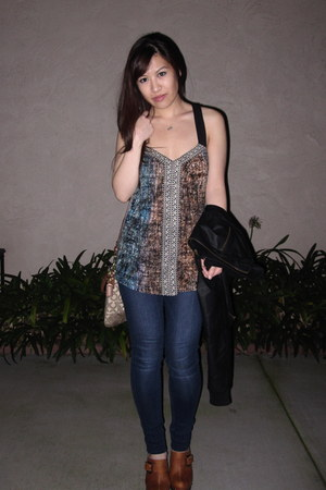 brown tribal unknown top - blue jeggings citizens of humanity jeans