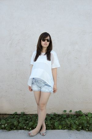 white Forever 21 top - white H&M top - blue Forever 21 shorts - beige ecote shoe