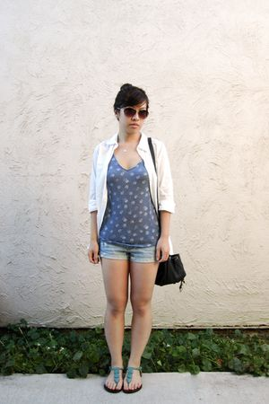 brown Marc by Marc Jacobs sunglasses - white H&M blouse - blue BDG top - blue ho