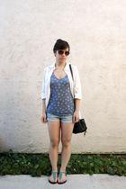 brown Marc by Marc Jacobs sunglasses - white H&M blouse - blue BDG top - blue ho