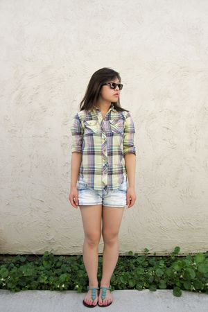 yellow BDG shirt - blue Forever 21 shorts - green ecote shoes - brown Ray Ban su