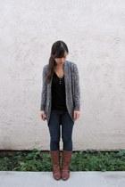 dark gray Forever 21 sweater - black Gap top - blue BDG jeans - brown Bakers boo