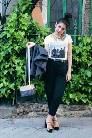 white cotton t-shirt - bronze shoes - dark gray wool pants