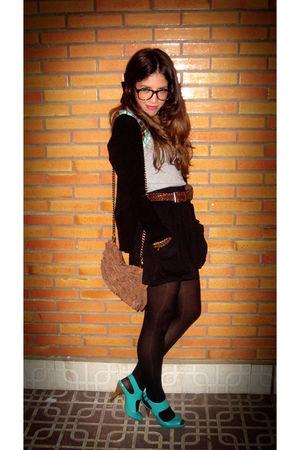 blue Mango shoes - black Zara skirt - brown Dorys purse