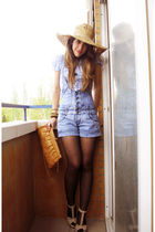 blue BLANCO jeans - beige BLANCO shoes - yellow Zara hat