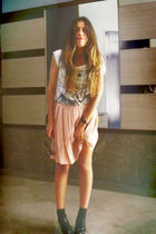 white Zara t-shirt - black H&M necklace - pink vintage skirt