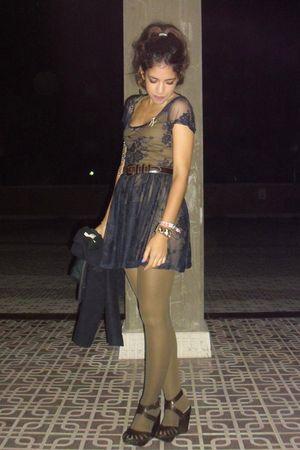 brown Mango shoes - blue Primark dress - brown vintage belt