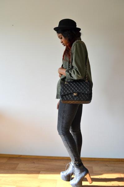 black Chanel bag - violet Jeffrey Campbell heels