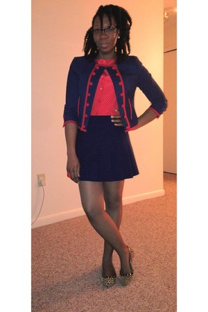 navy with red trim H&M blazer - red polka dot ann taylor blouse