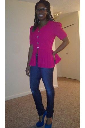 hot pink peplum vintage blazer - blue suede Steve Madden shoes