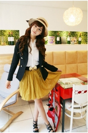 skirt - jacket - blouse - shoes - hat