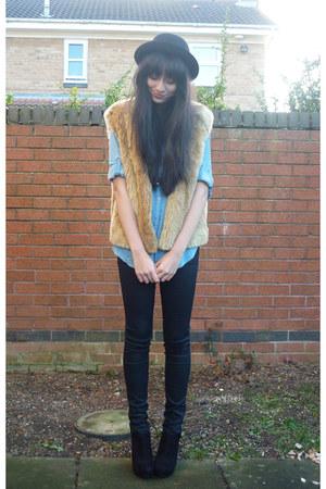 vintage jacket - new look boots - H&M jeans - H&M hat - H&M shirt
