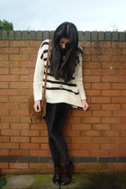 velvet Topshop leggings - vintage bag - Topshop jumper