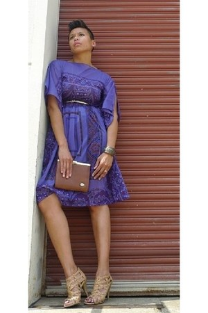 deep purple vintage dress - camel cage Aldo heels