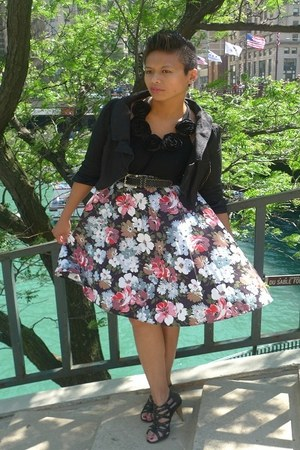 cropped vintage jacket - rosette Forever 21 top - floral vintage skirt - belt -