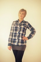 navy Primark shirt - black Primark tights - charcoal gray new look skirt - light