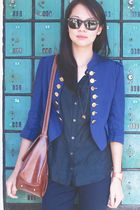 STYLESOFIACOM blazer - banana republic top - Topshop leggings - Nooka accessorie