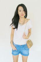white Topshop t-shirt - beige STYLESOFIACOM accessories - beige accessories - bl