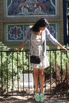 white Urban Outfitters dress - black coach purse - green Vans shoes - gray Zara