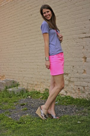 neon JCrew skirt - grey American Apparel shirt