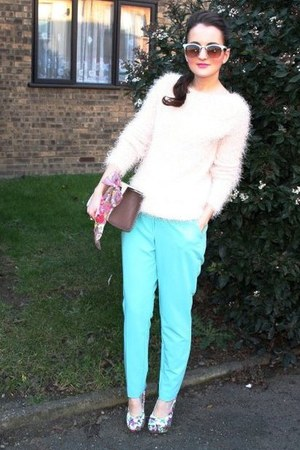 light blue Primark pants - bubble gum Forever 21 shoes - pink Primark bag