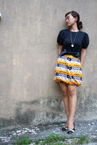 black JCrew t-shirt - white vintage necklace - black DIY belt - orange DIY skirt