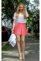coral Zara skirt - white Zara shirt - neutral Zara sandals