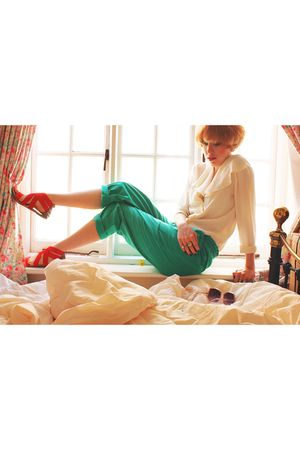 white jaeger blouse - green pants - silver accessories - red shoes - pink sungla