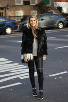 faux leather BLANKNYC leggings - Topshop shoes - fur adrienne landau jacket