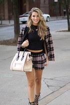 plaid 1 state blazer - Celine bag - plaid 1 state shorts - lace up Schutz heels
