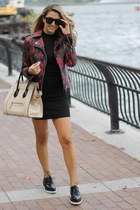 leather 424 Fifth jacket - Forever 21 dress - Topshop loafers