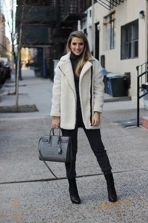 sherpa sam edelman coat - Joie boots - Yves Saint Laurent bag