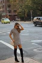 Chanel bag - Ivanka Trump boots - striped Forever 21 dress - Chanel sunglasses